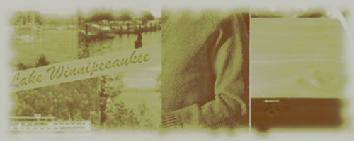 sepia image of a man's sweater, an old Lake Winnipesaukee postcard, and a wooden jewlry box