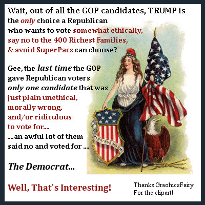 The last time Republicans had only one choice a lot of them said no and voted Democrat. Well, That's Interesting!